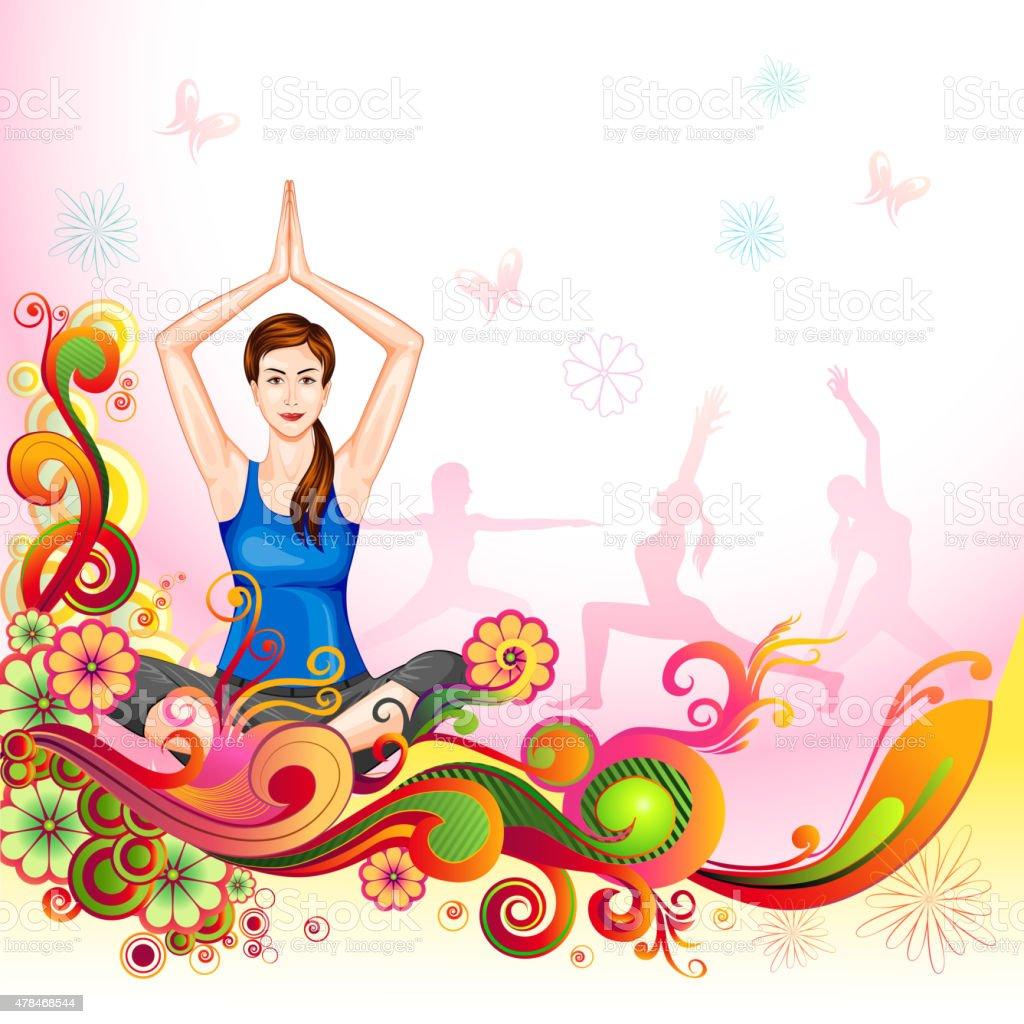 International Yoga Day vector art illustration