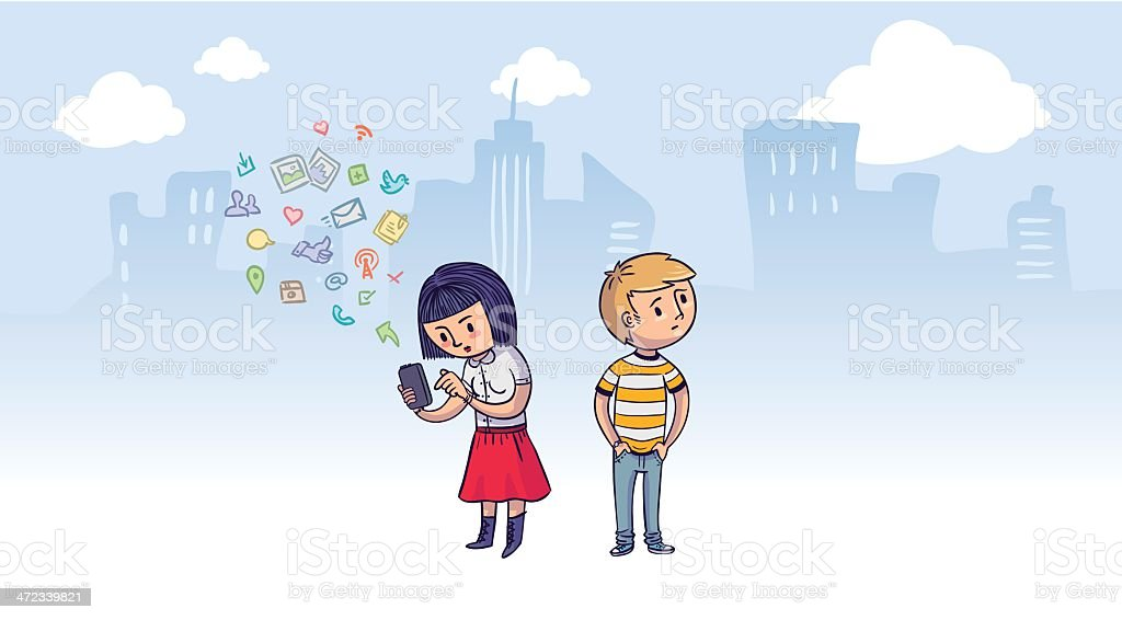 Internet addiction vector art illustration