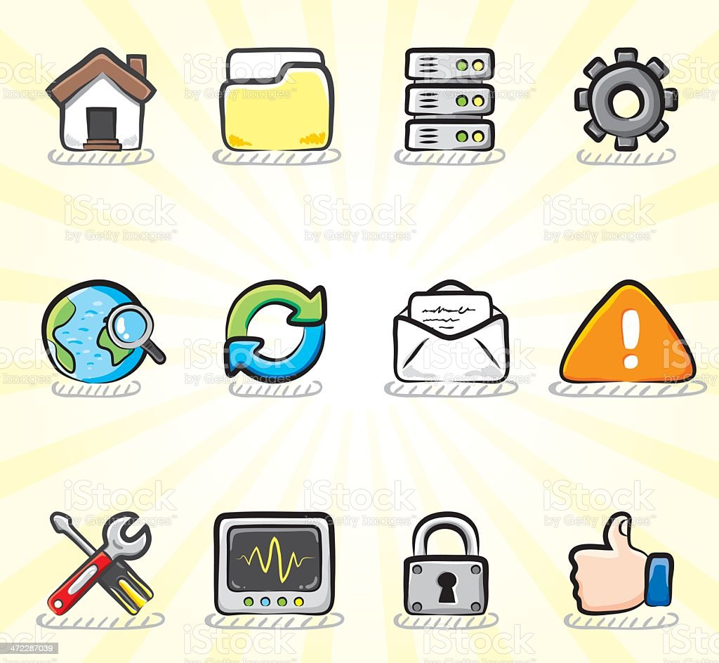 Internet & Web Icon Set | Color Sketch Series vector art illustration