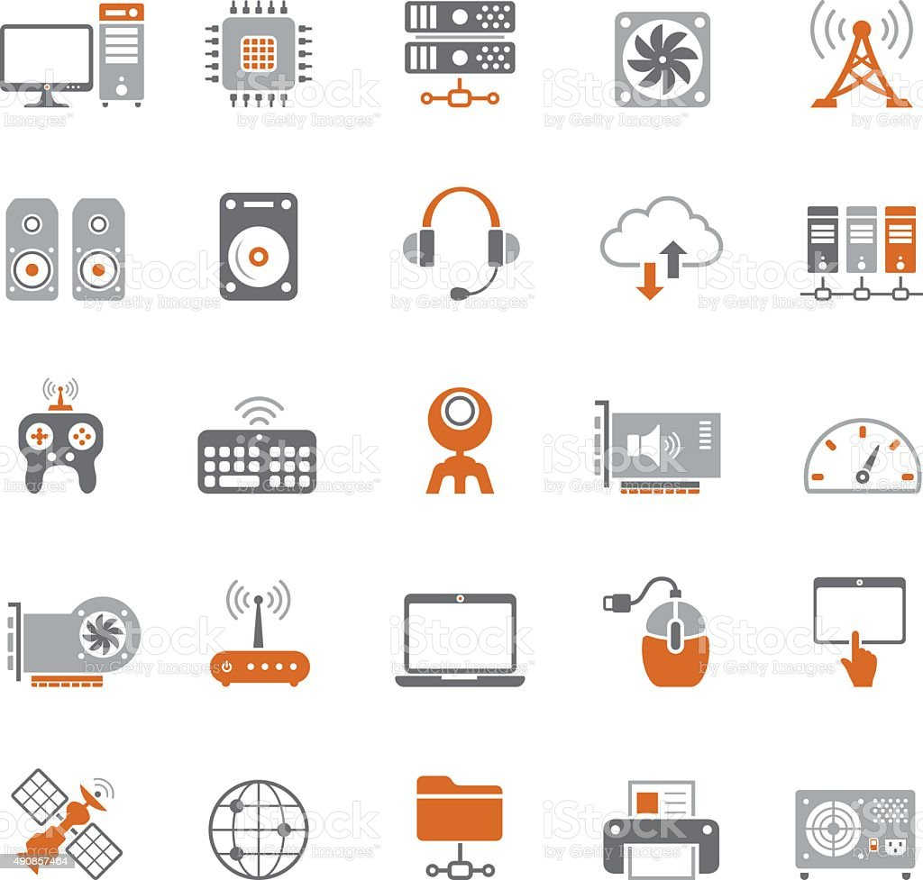 Internet and Computer Hardware Icon Set vector art illustration