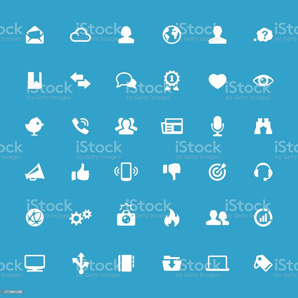 Internet and Media related vector icons vector art illustration