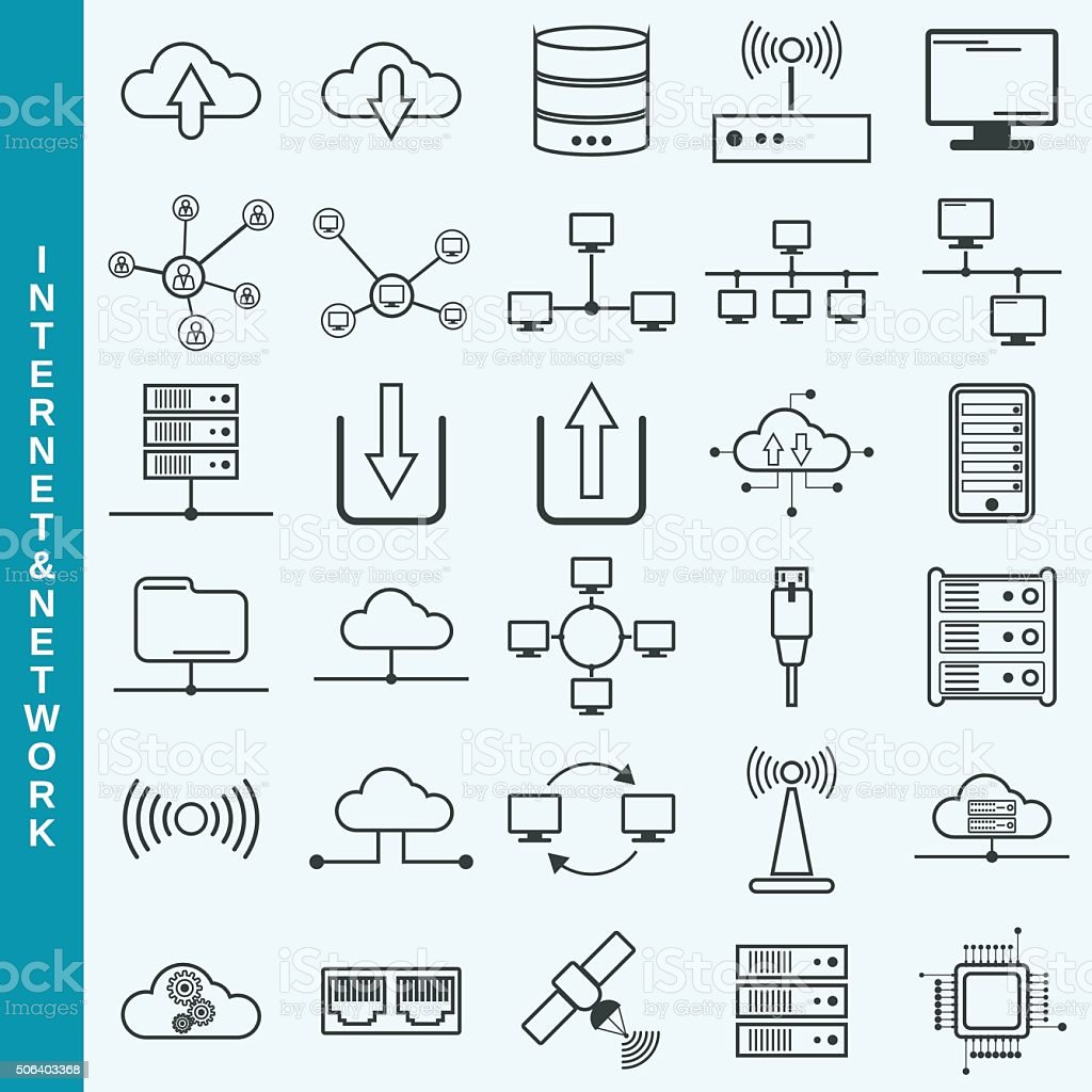 Internet and network, cloud computing, remote control vector icons vector art illustration