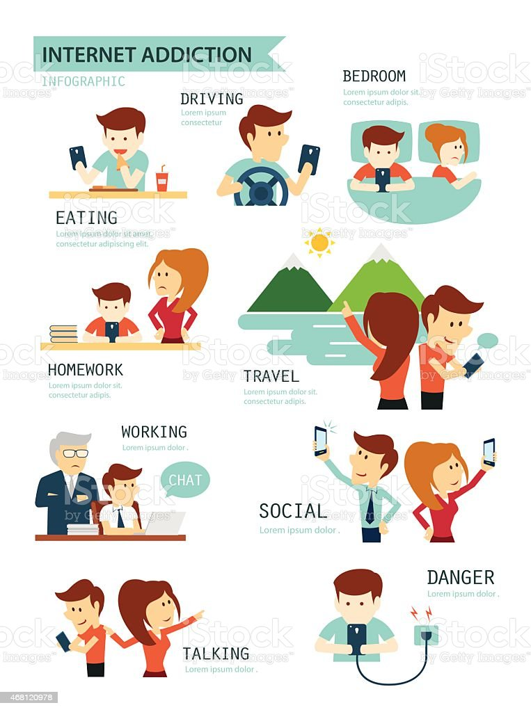 internet and smartphone addiction vector art illustration
