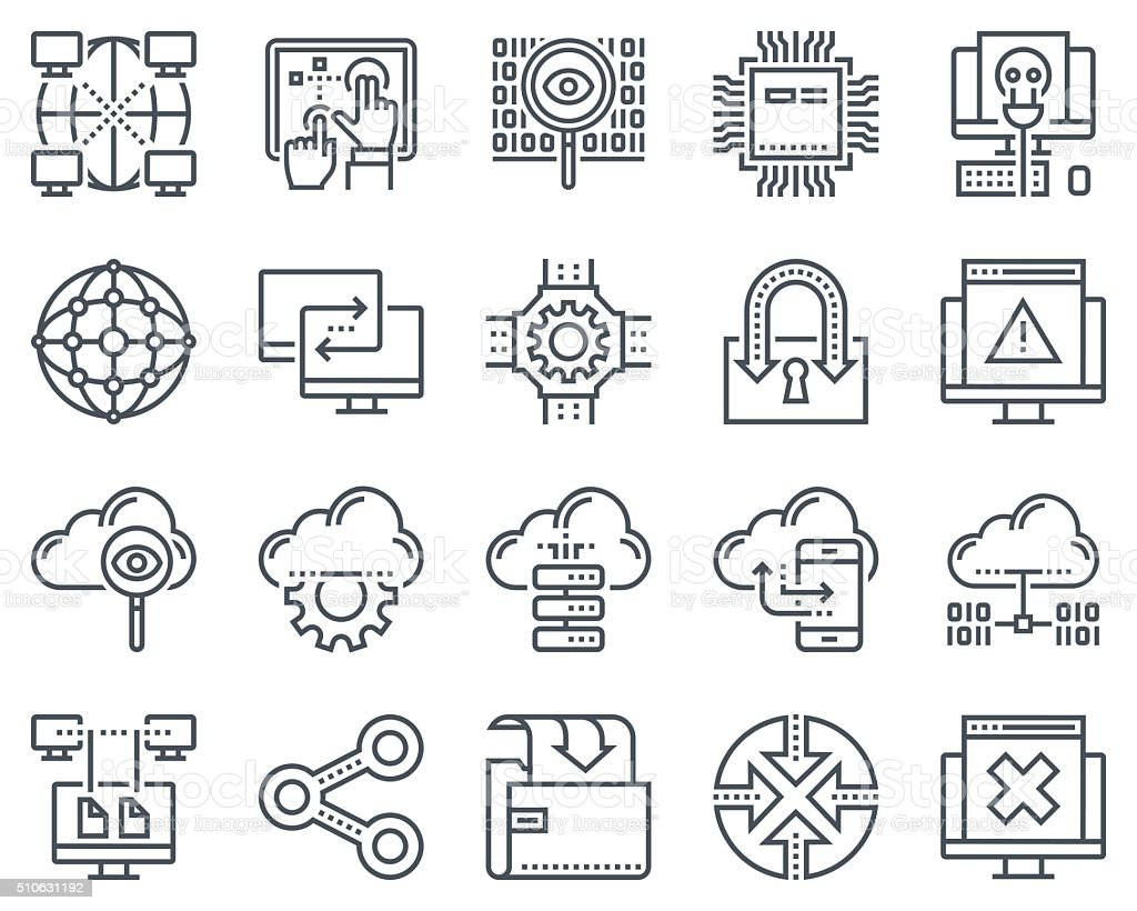 Internet and technology icon set vector art illustration