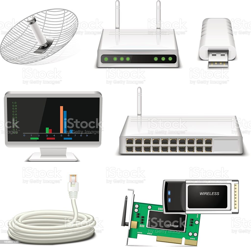 Internet and technology items in rows on a white background vector art illustration