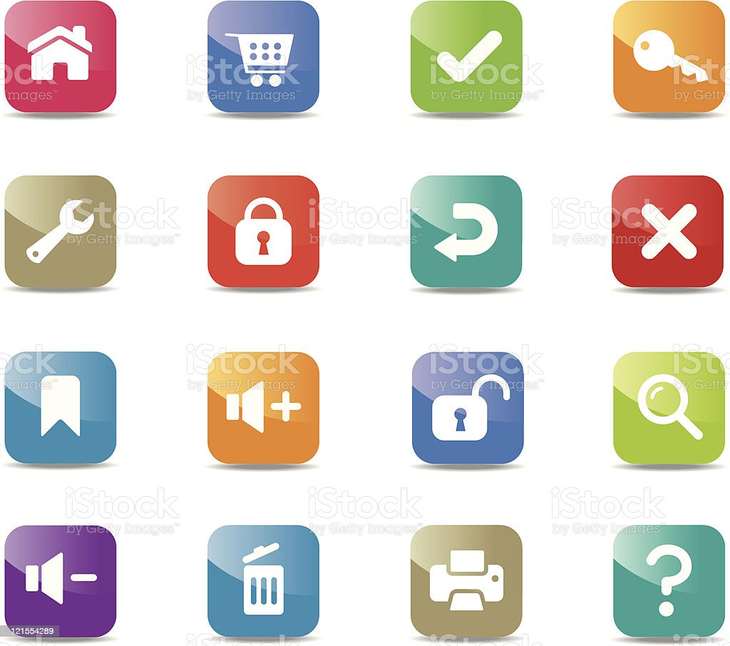 Internet and toolbar icons - Square royalty-free stock vector art