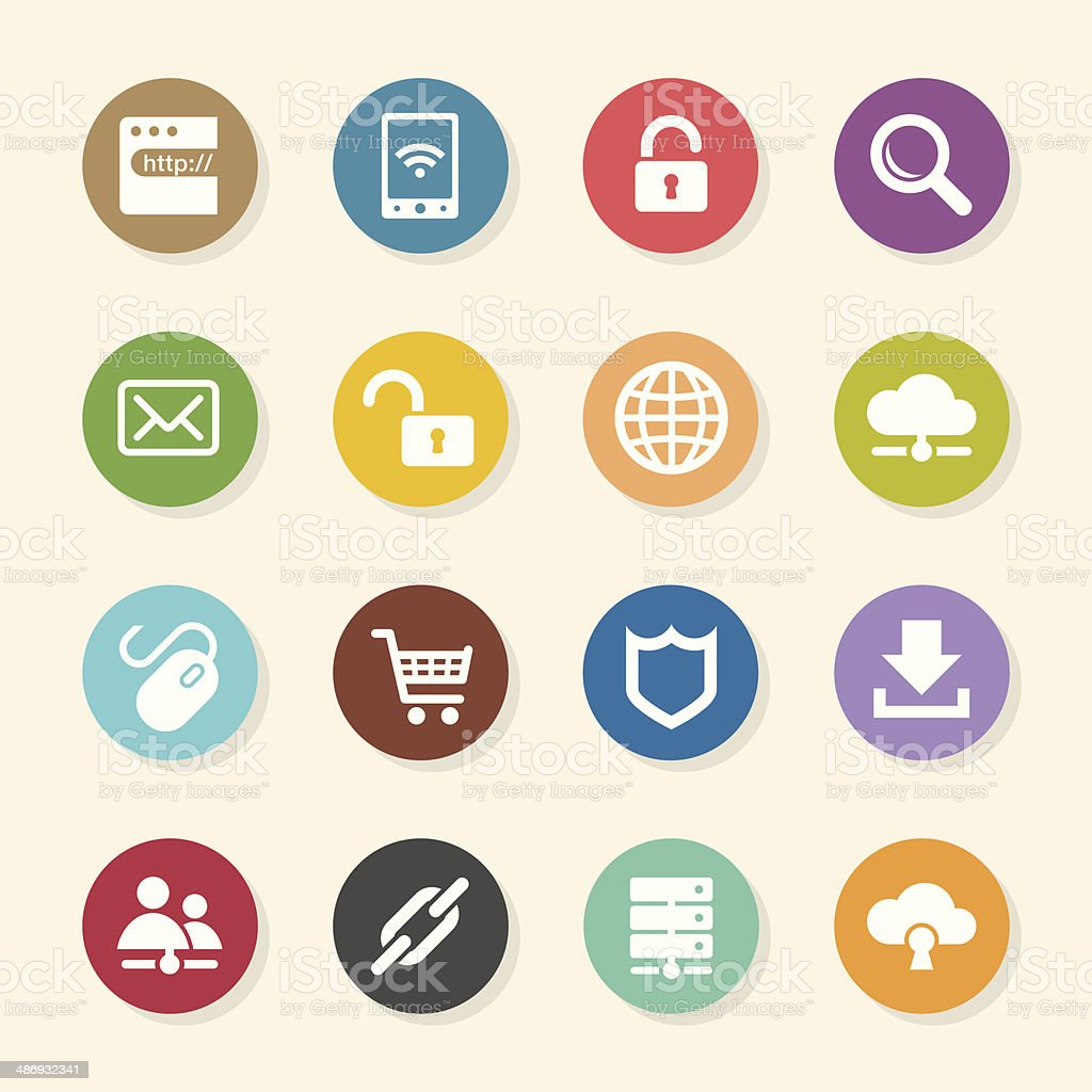 Internet and web Icons Set 2 - Color Circle Series royalty-free stock vector art
