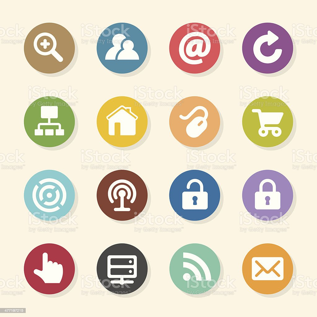 Internet and web Icons Set - Color Circle Series vector art illustration