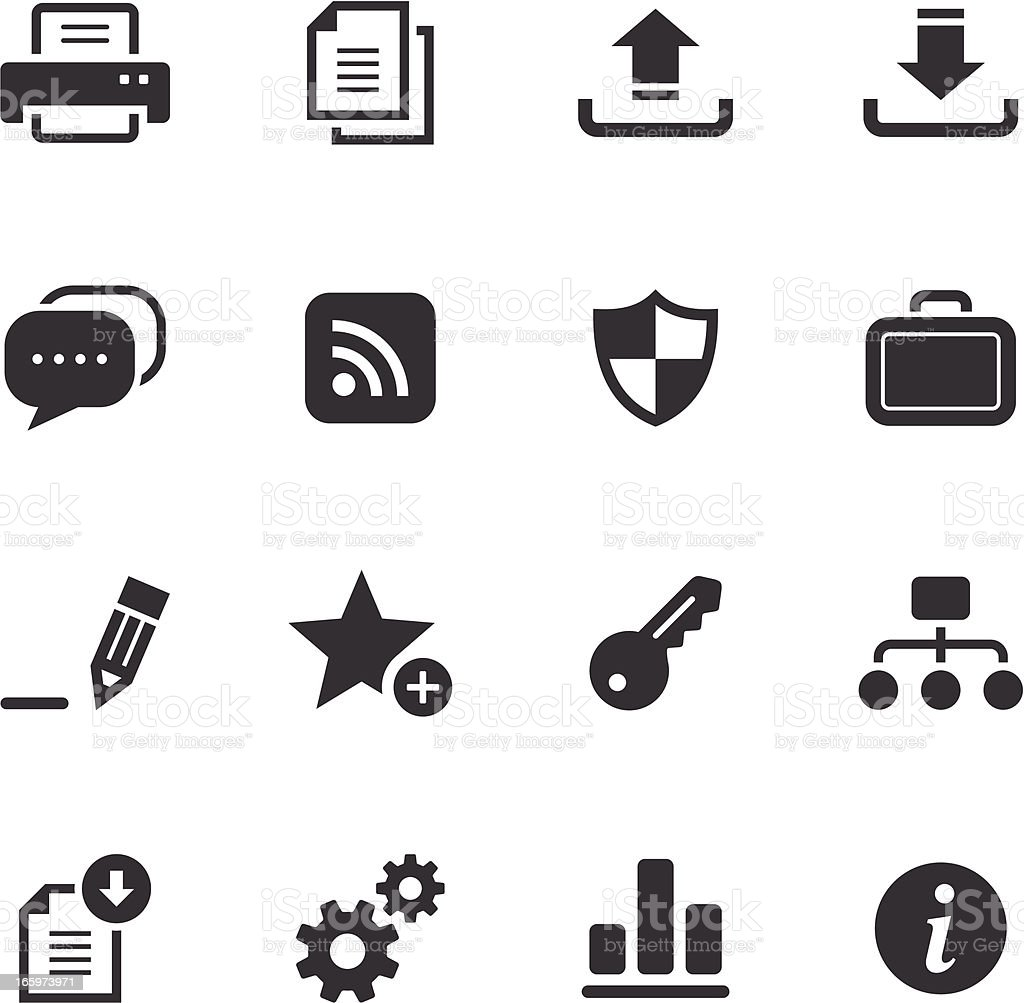 Internet and web monochromatic icons vector art illustration