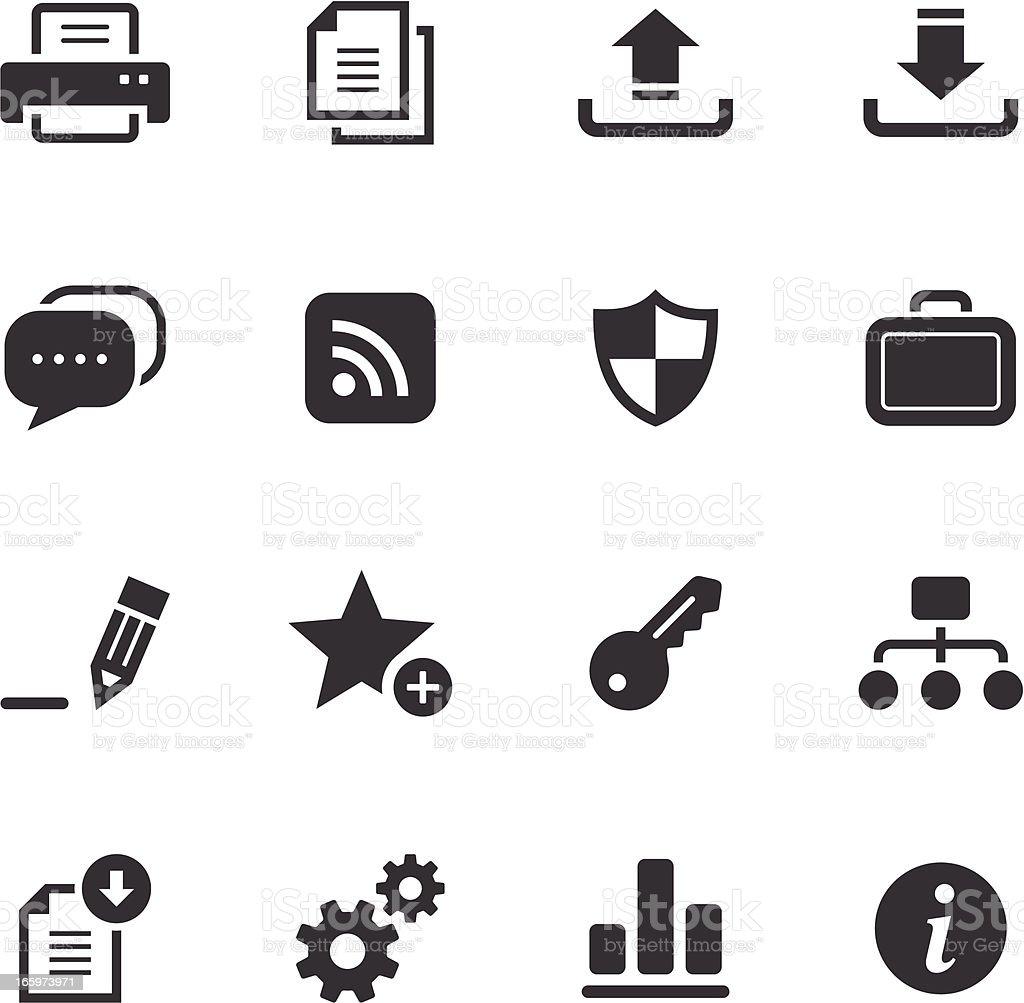Internet and web monochromatic icons vector art illustration