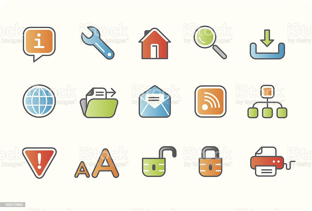 Internet and website business icons - colour 01 royalty-free stock vector art
