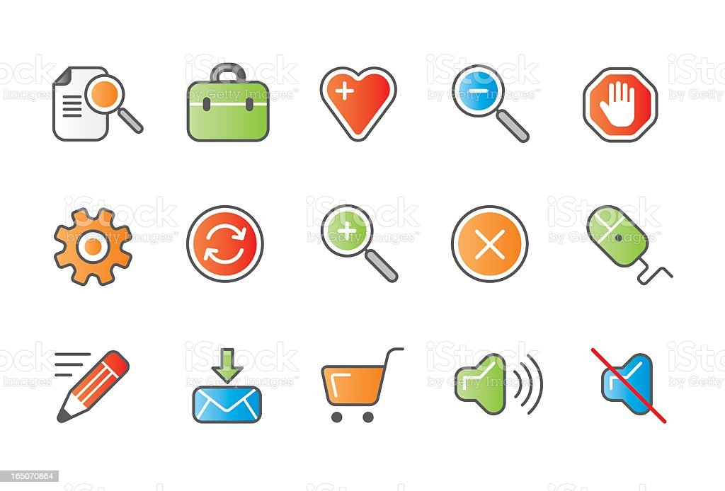 Internet and website business icons - colour 02 royalty-free stock vector art