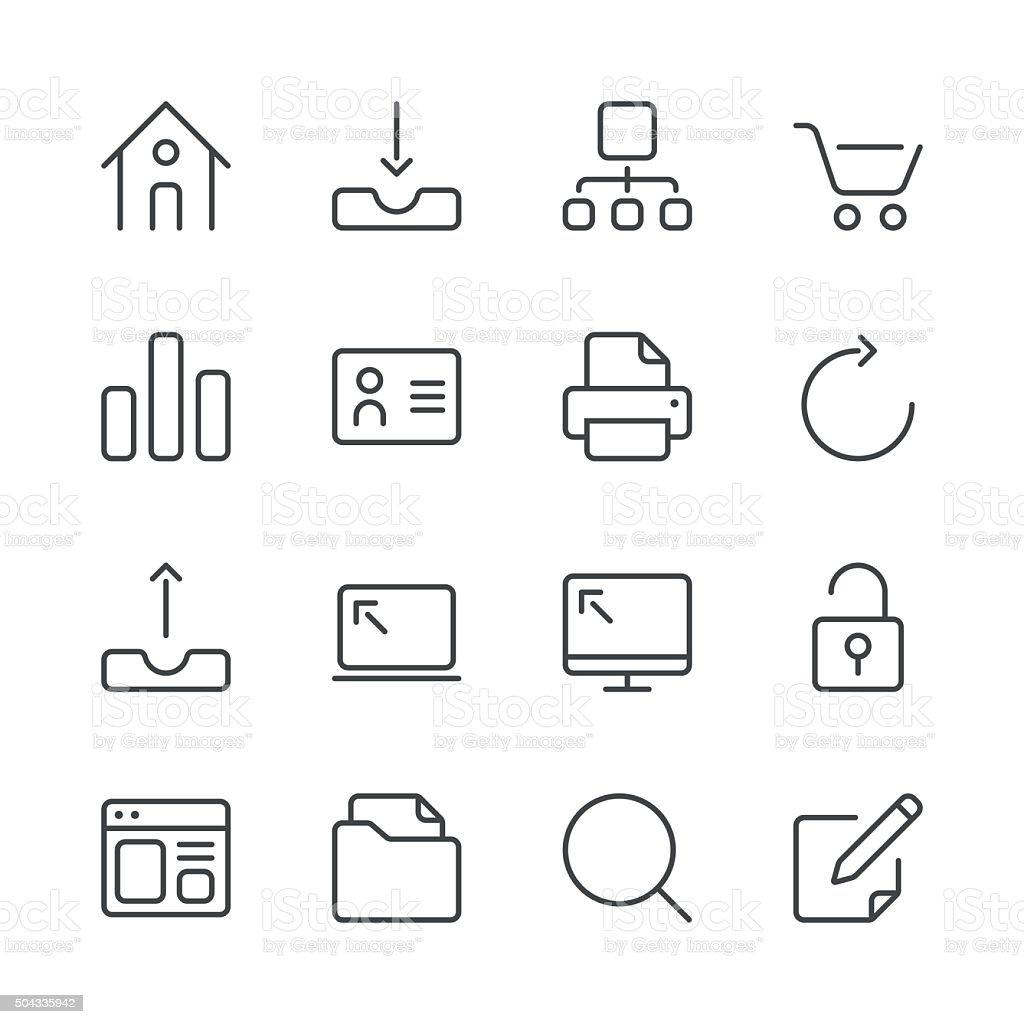 Internet and Website Icons set 1 | Black Line series vector art illustration