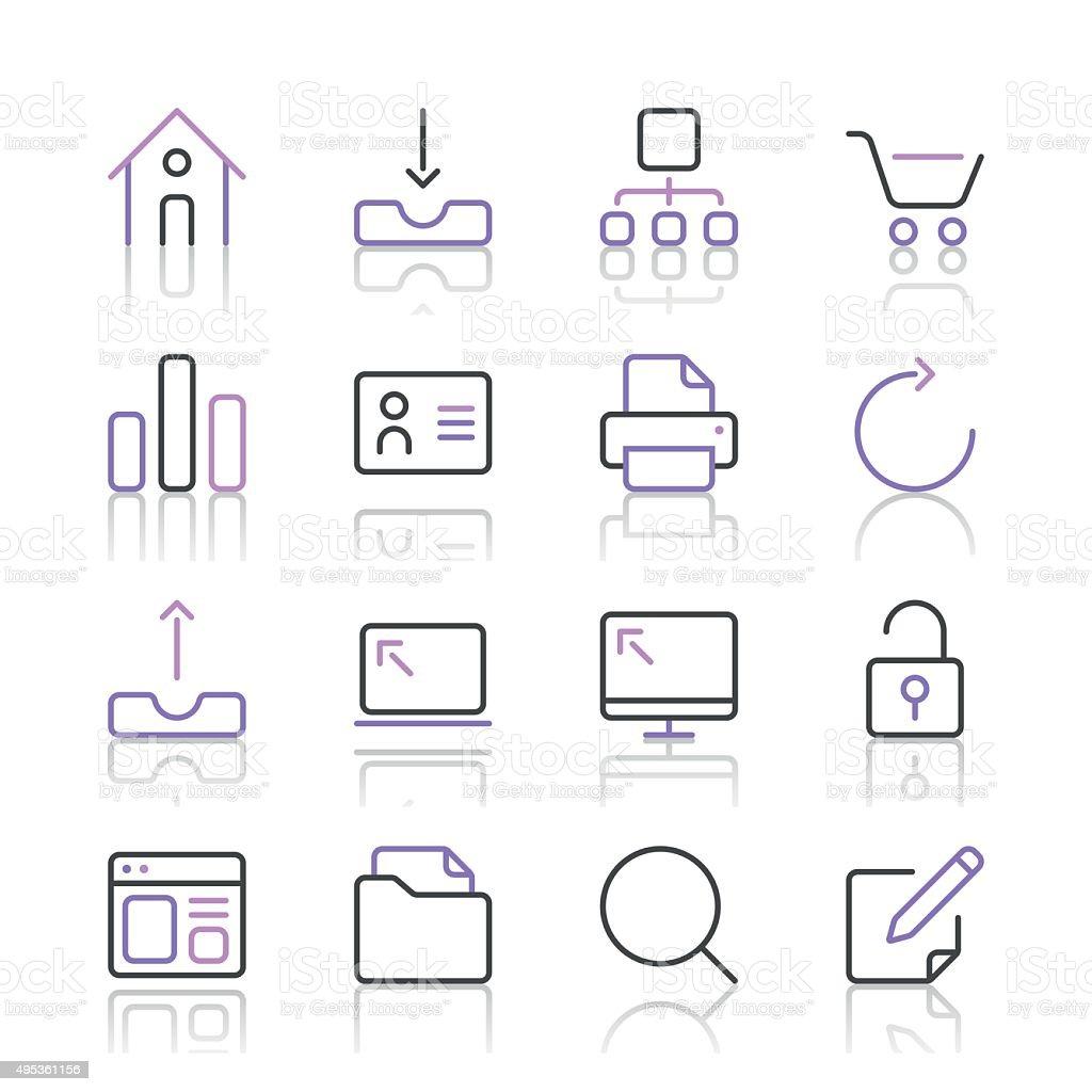 Internet and Website Icons set 1   Purple Line series vector art illustration
