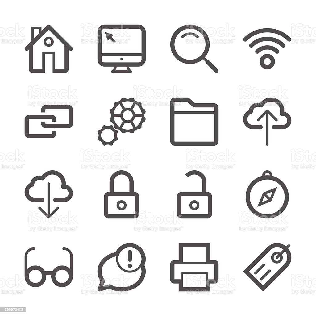 Internet and Website Icons set 1 | Stroke Series vector art illustration