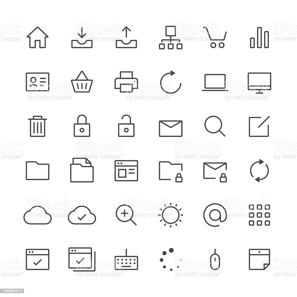 Internet and website icons set 1 | Thin Line series vector art illustration