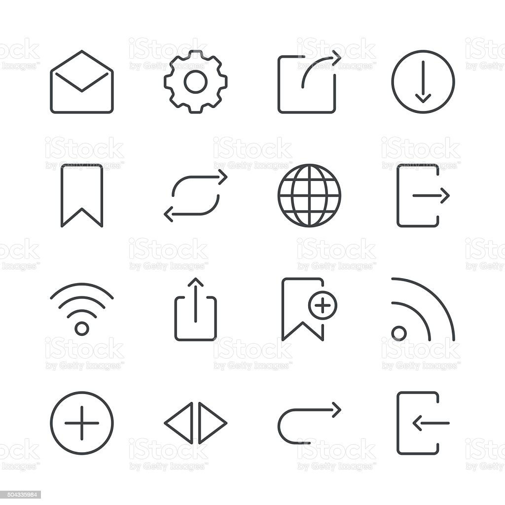 Internet and Website Icons set 2 | Black Line series vector art illustration