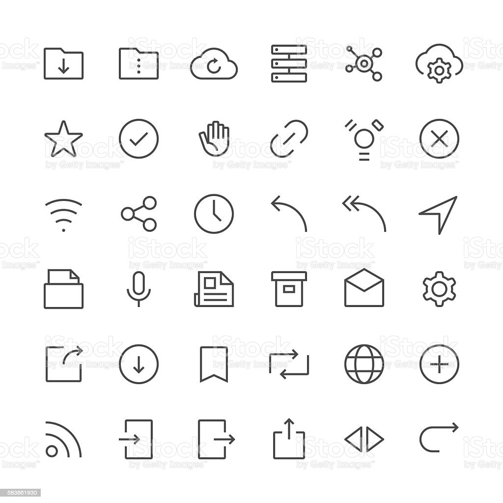 Internet and website icons set 2 | Thin Line series vector art illustration
