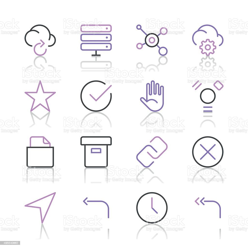 Internet and Website Icons set 3 | Purple Line series vector art illustration
