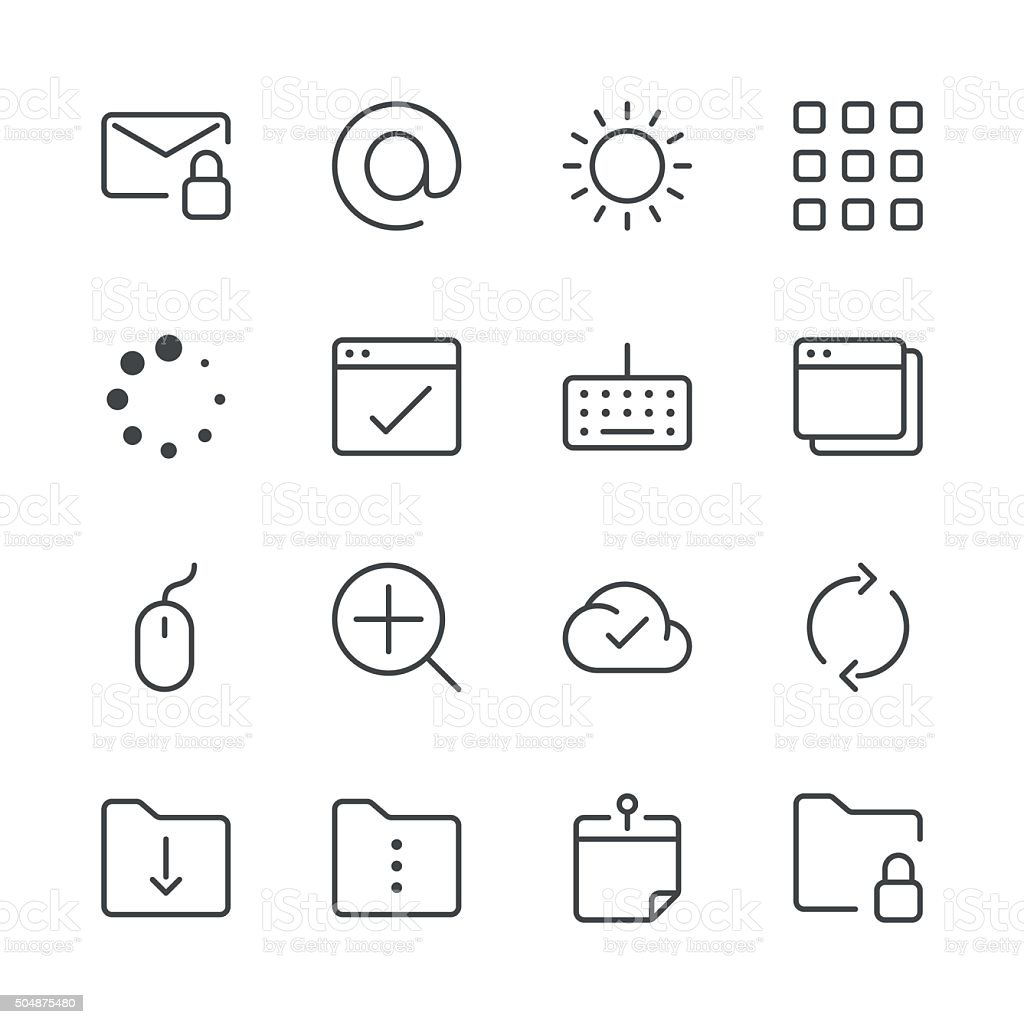 Internet and Website Icons set 4 | Black Line series vector art illustration