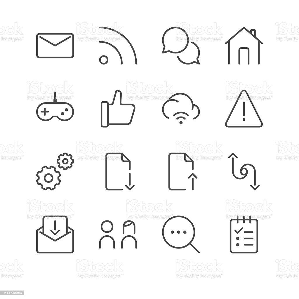 Internet and Website Icons set 5   Black Line series vector art illustration