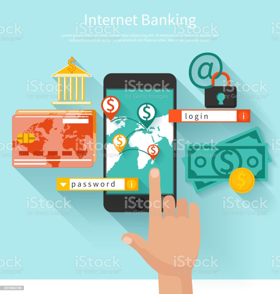 Internet banking and security deposit concept vector art illustration