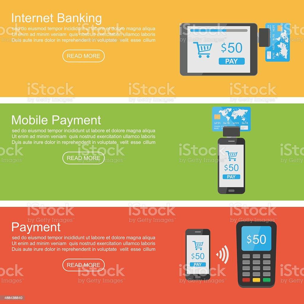 Internet banking, mobile payment banner ,vector vector art illustration