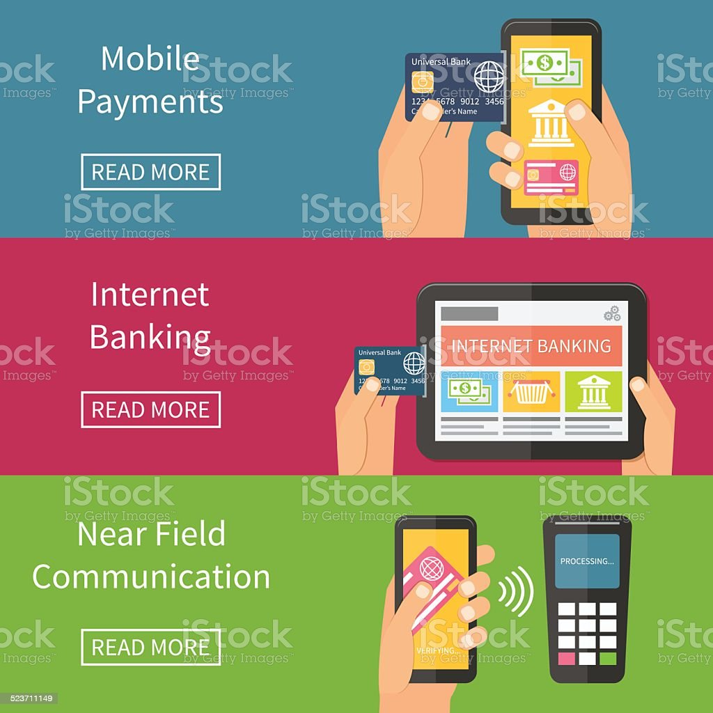 Internet banking, mobile payments and nfc technology. Flat vector illustration. vector art illustration