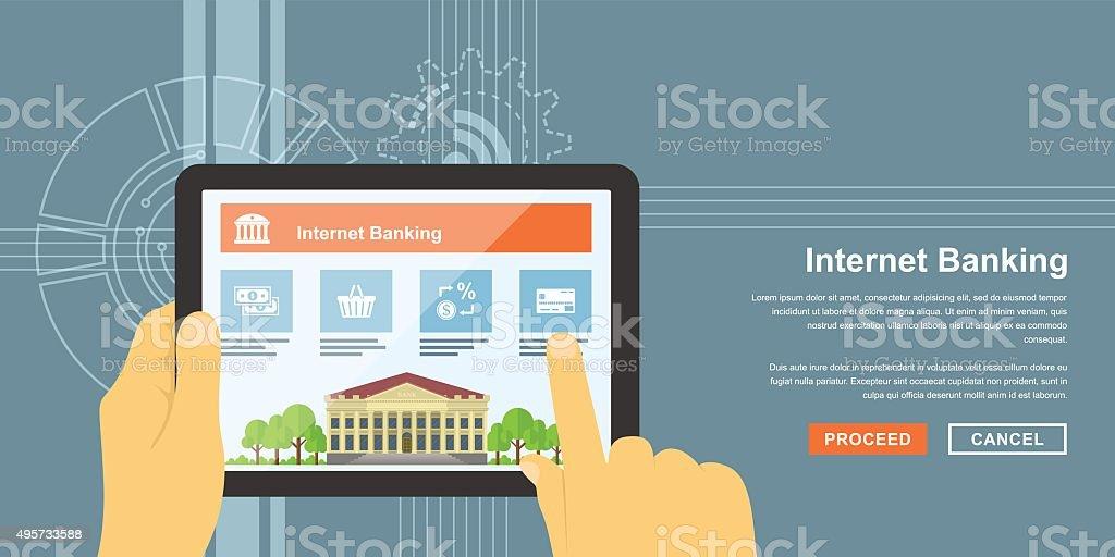 internet banking vector art illustration