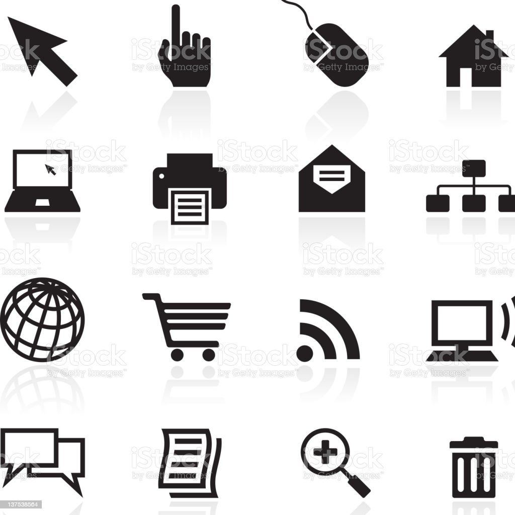 internet  black and white icon set stock photo