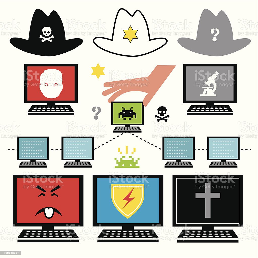 Internet Black Hats vector art illustration