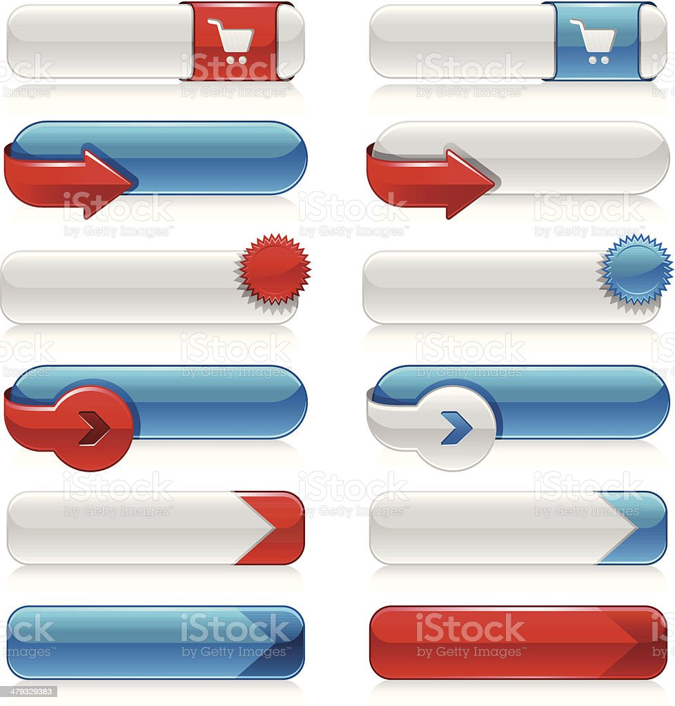 Internet Buttons (Blue&Red) royalty-free stock vector art