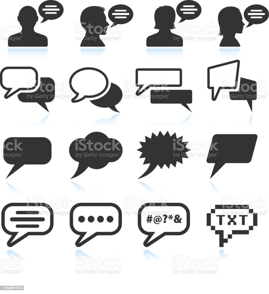 Internet Chat Communication black and white vector icon set vector art illustration