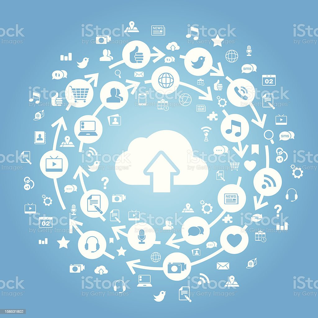 Internet Cloud Computing Blue stock photo