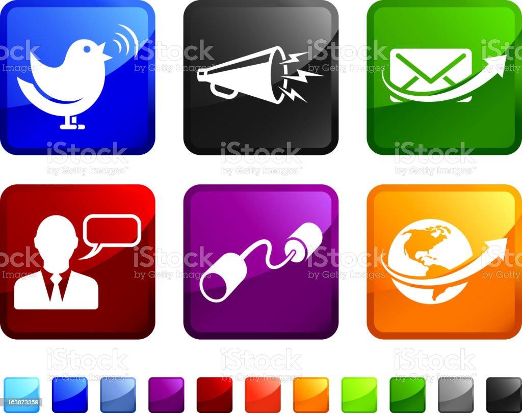 Internet Communication royalty free vector icon set stickers vector art illustration
