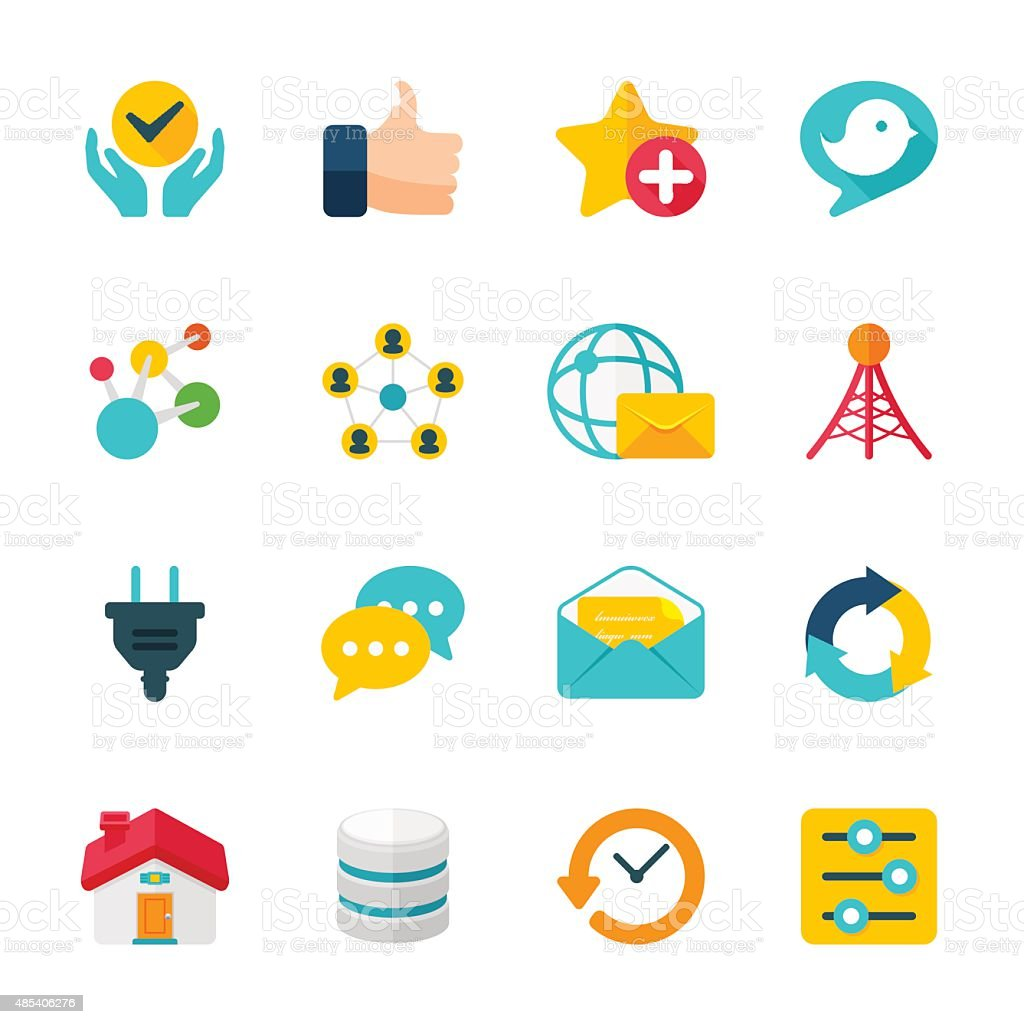 Internet Communication Set | Flat Design Icons vector art illustration
