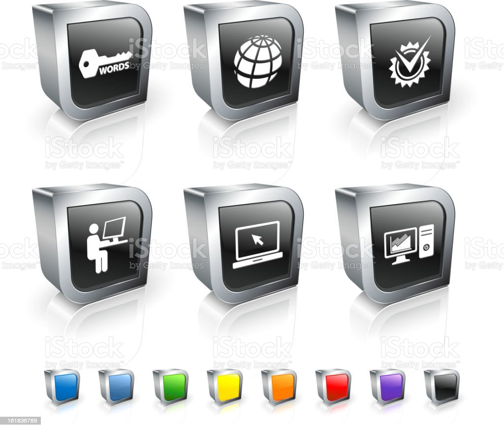 Internet Communication tracking 3D royalty free vector icon set royalty-free stock vector art