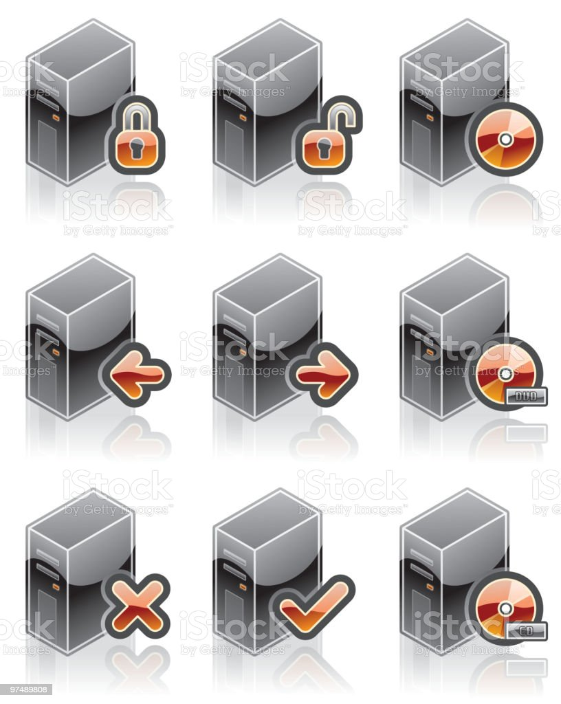 Internet Computer and Software Icons Set. Design Elements royalty-free stock vector art