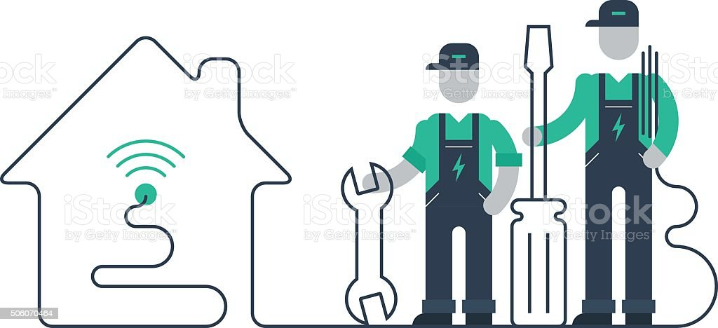 Internet connection support team vector art illustration