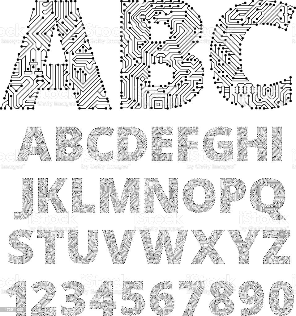 Internet connections circuit board vector font design. vector art illustration