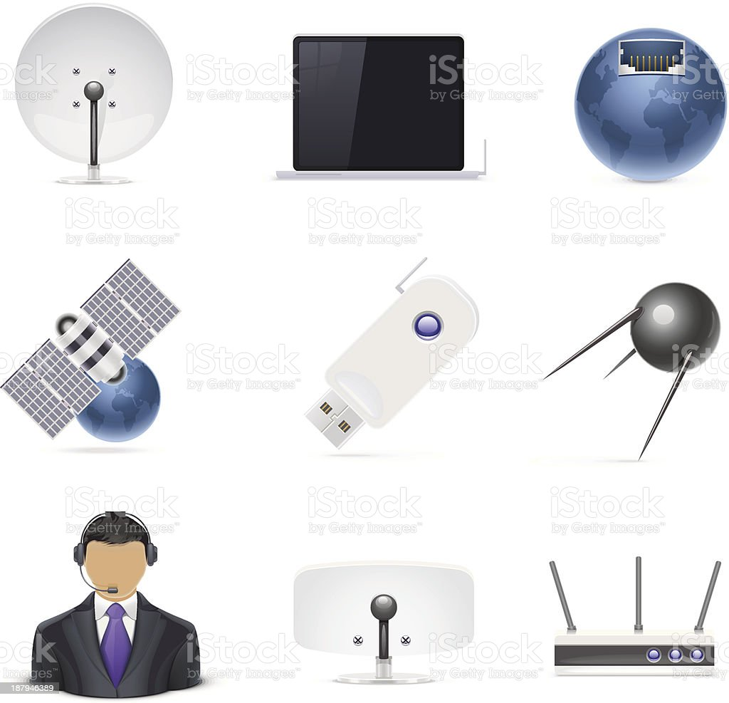 internet connections vector icon set royalty-free stock vector art