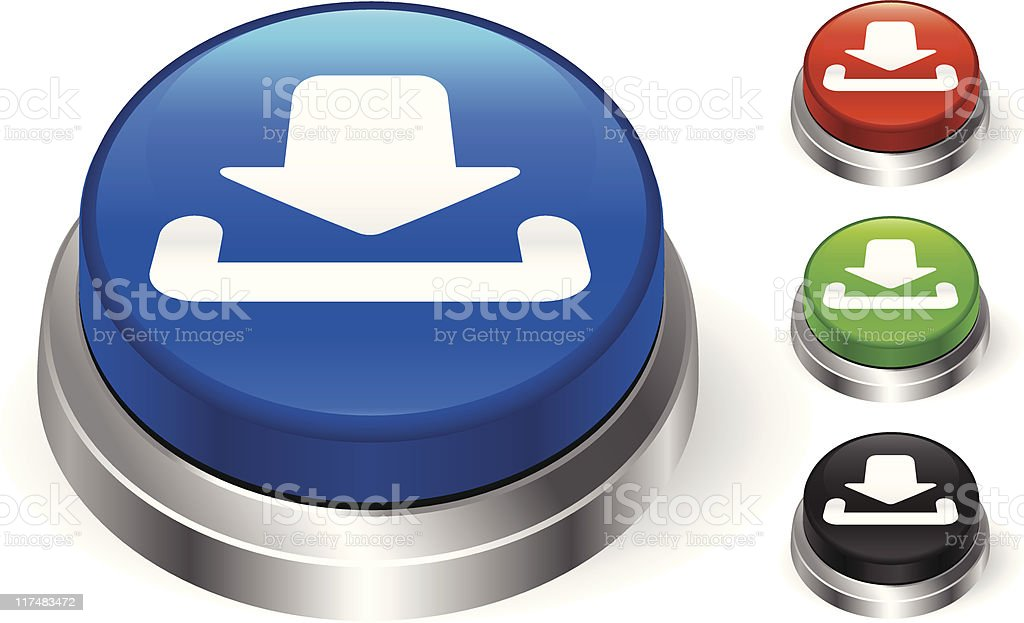 Internet download icon 3D push button royalty-free stock vector art