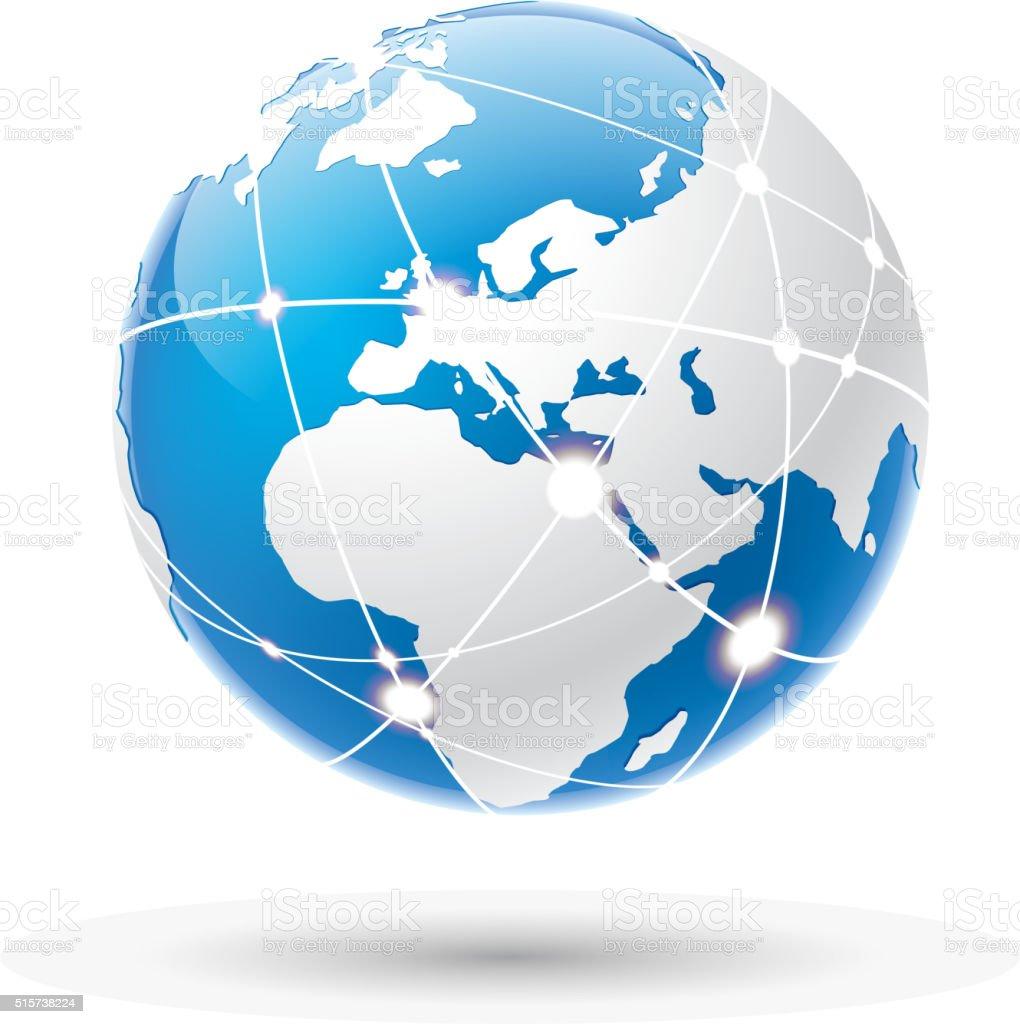 Internet earth vector art illustration