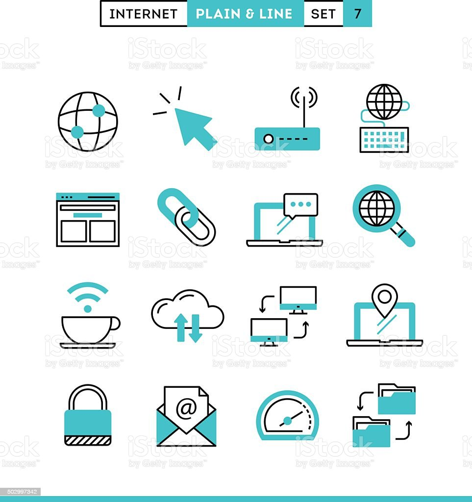 Internet, global network, cloud computing, free WiFi and more. vector art illustration