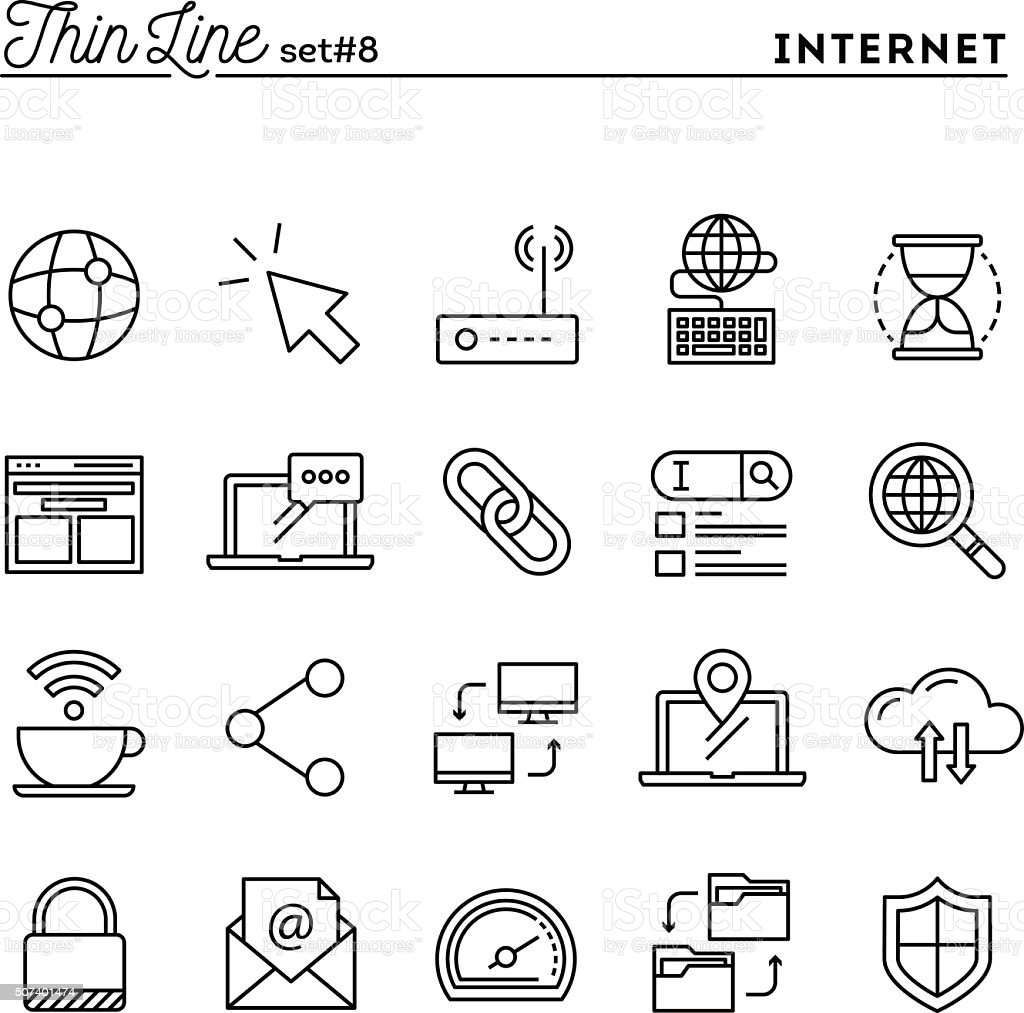 Internet, global network, cloud computing, free WiFi and more vector art illustration