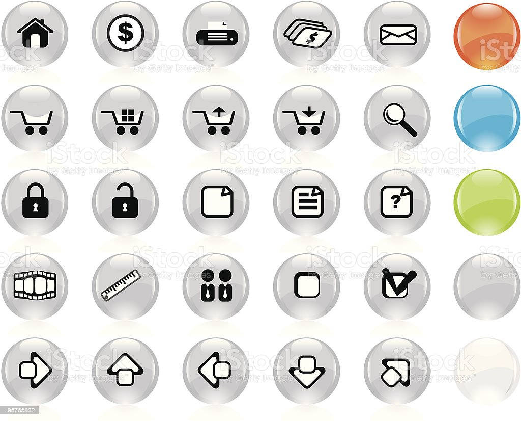 Internet Icon Set - 25 Grey royalty-free stock vector art