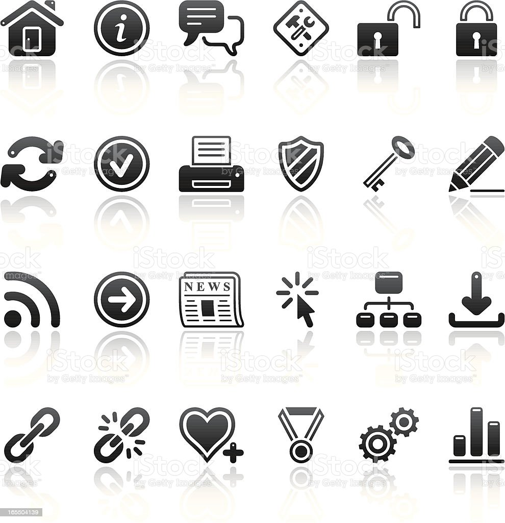 internet icon set black reflection vector art illustration