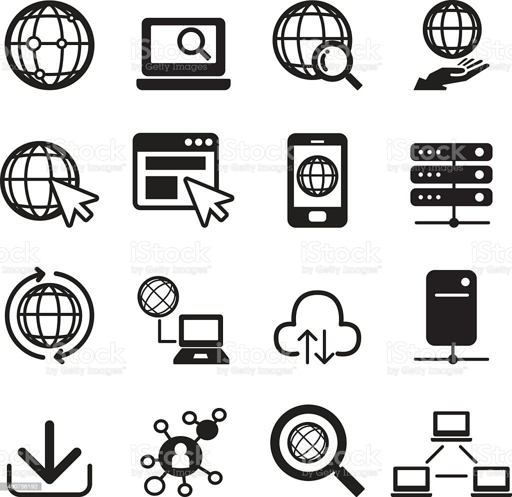 Internet icon set vector art illustration