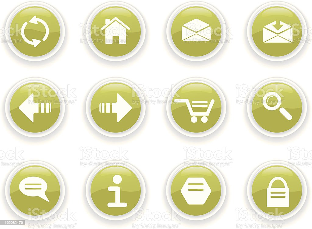 Internet Icons I - green royalty-free stock vector art