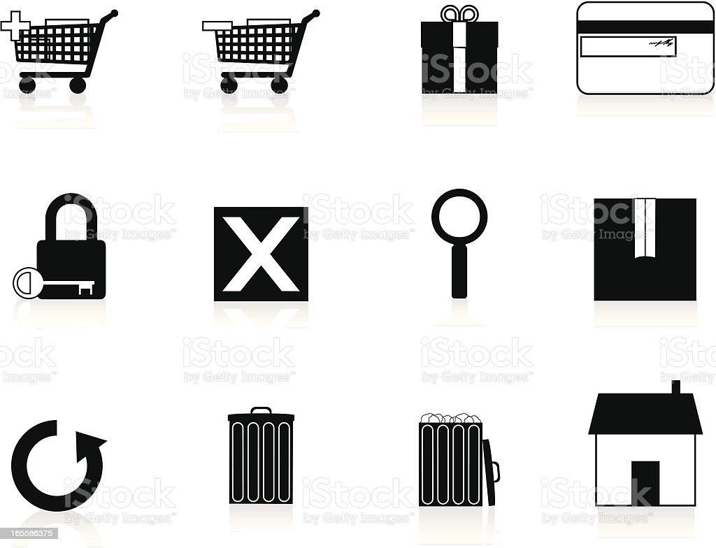 Internet Icons Series 1 - E-Commerce, Black vector art illustration